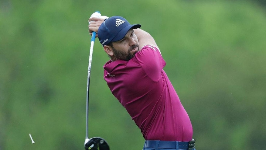 Sergio Garcia, of Spain, hits his tee shot on the third hole during round-robin play at the Dell Technologies Match Play golf tournament at Austin County Club, Friday, March 24, 2017, in Austin, Texas. (AP Photo/Eric Gay)