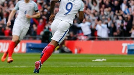 England's Jermain Defoe turns around after scoring during the World Cup Group F qualifying soccer match between England and Lithuania at the Wembley Stadium in London, Great Britain, Sunday, March 26, 2017. (AP Photo/Frank Augstein)