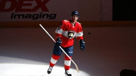 Florida Panthers center Jonathan Marchessault (81) skates across the ice after being awarded the number one star of the NHL hockey game against the Chicago Blackhawks, Saturday, March 25, 2017, in Sunrise, Fla. The Panthers defeated the Blackhawks 7-0. Marchessault scored a hat trick in the game. (AP Photo/Joel Auerbach)