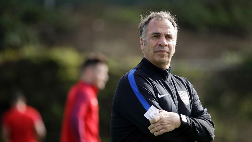 FILE - In this Jan. 11, 2017, file photo, United States coach Bruce Arena watches his team during soccer practice in Carson, Calif. If the U.S. fails to beat Honduras on Friday, March 24, 2017, in San Jose, Calif., the Americans would be winless in the final round of World Cup qualifying with seven games left. Only one team has qualified from a similar start, Trinidad and Tobago in 2006. A(P Photo/Jae C. Hong, File)