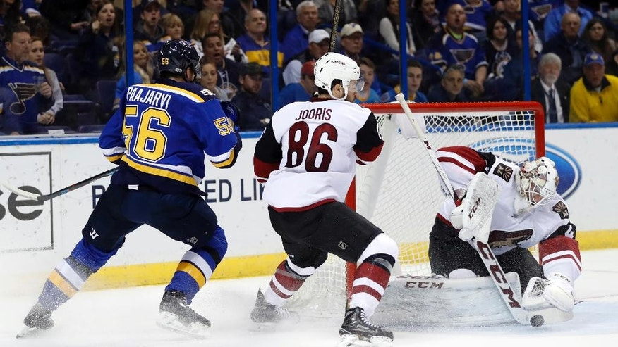 Arizona Coyotes goalie Mike Smith, right, smothers the puck as teammate Josh Jooris (86) and St. Louis Blues' Magnus Paajarvi (56) watch during the second period of an NHL hockey game Monday, March 27, 2017, in St. Louis. (AP Photo/Jeff Roberson)