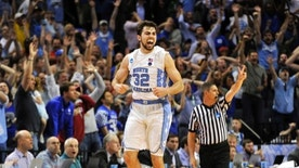 North Carolina forward Luke Maye celebrates after shooting the winning basket in the second half of the South Regional final game against Kentucky in the NCAA college basketball tournament Sunday, March 26, 2017, in Memphis, Tenn. The basket gave North Carolina a 75-73 win. (AP Photo/Brandon Dill)