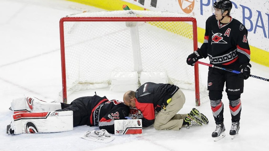 Carolina Hurricanes' Victor Rask (49), of Sweden, stands by while goalie Eddie Lack (31), of Sweden, is attended to following an injury during overtime in an NHL hockey game against the Detroit Red Wings in Raleigh, N.C., Monday, March 27, 2017. Detroit won 4-3. (AP Photo/Gerry Broome)