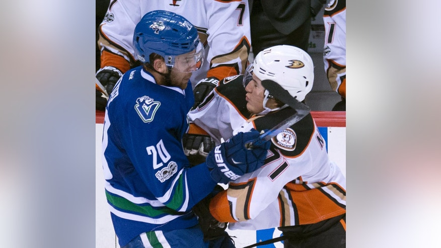 Vancouver Canucks centre Brandon Sutter (20) vies for control of the puck with Anaheim Ducks defenseman Brandon Montour (71) during second period of an NHL hockey game in Vancouver, British Columbia, Tuesday, March 28, 2017.  (Jonathan Hayward/The Canadian Press via AP)
