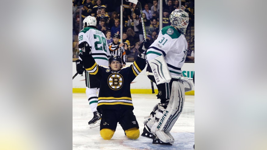 Boston Bruins defenseman Torey Krug celebrates his goal against Dallas Stars goalie Antti Niemi (31) during the second period of an NHL hockey game, Thursday, March 30, 2017, in Boston. (AP Photo/Elise Amendola)