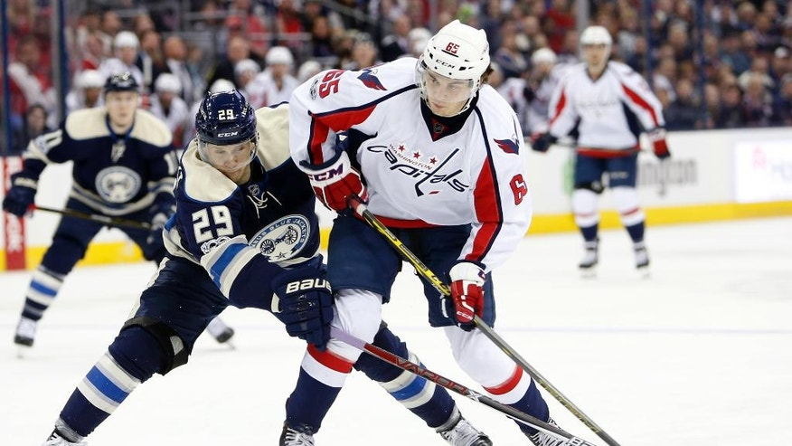 Washington Capitals' Andre Burakovsky, right, of Austria, looks for an open shot as Columbus Blue Jackets' Lauri Korpikoski, of Finland, defends during the first period of an NHL hockey game Sunday, April 2, 2017, in Columbus, Ohio. (AP Photo/Jay LaPrete)