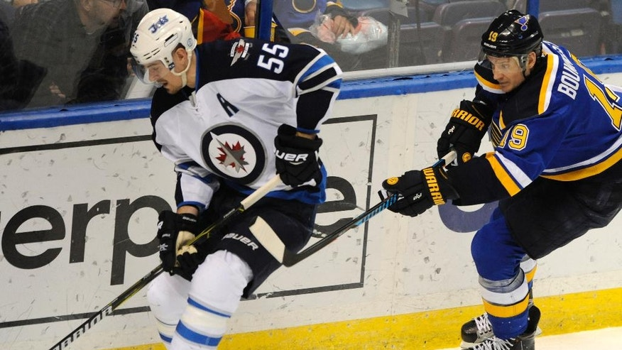 Winnipeg Jets' Mark Scheifele (55) skates around St. Louis Blues' Jay Bouwmeester (19) during the second period of an NHL hockey game, Tuesday, April 4, 2017, in St. Louis. (AP Photo/Bill Boyce)