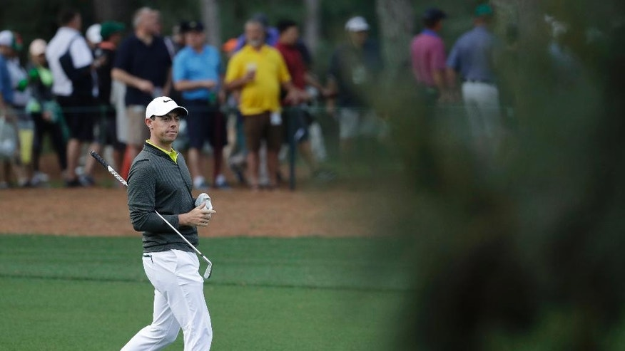 Rory McIlroy of Northern Ireland, walks up the 15th fairway during a practice round for the Masters golf tournament Wednesday, April 5, 2017, in Augusta, Ga. (AP Photo/Matt Slocum)