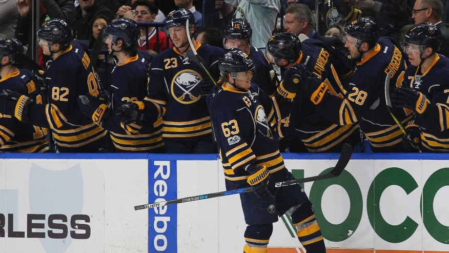 Buffalo Sabres forward Tyler Ennis (63) celebrates his goal during the second period of an NHL hockey game against the Montreal Canadiens, Wednesday, April 5, 2017, in Buffalo, N.Y. (AP Photo/Jeffrey T. Barnes)