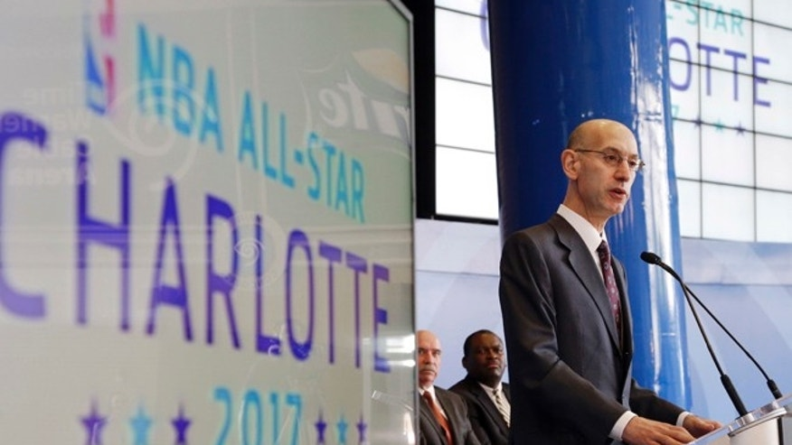 NBA Commissioner Adam Silver speaks during a news conference in Charlotte, N.C., where the league announced that the city would host the 2017 NBA All-Star basketball game. A person with knowledge of the plans says the NBA will discuss whether to bring the 2019 All-Star Game to Charlotte.