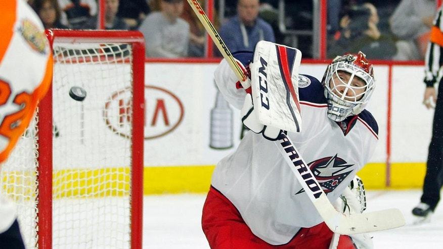 Columbus Blue Jackets' Sergei Bobrovsky fails to stop the shot by Philadelphia Flyers' Ivan Provorov who scored during the second period of an NHL hockey game, Saturday, April 8, 2017, in Philadelphia. (AP Photo/Tom Mihalek)