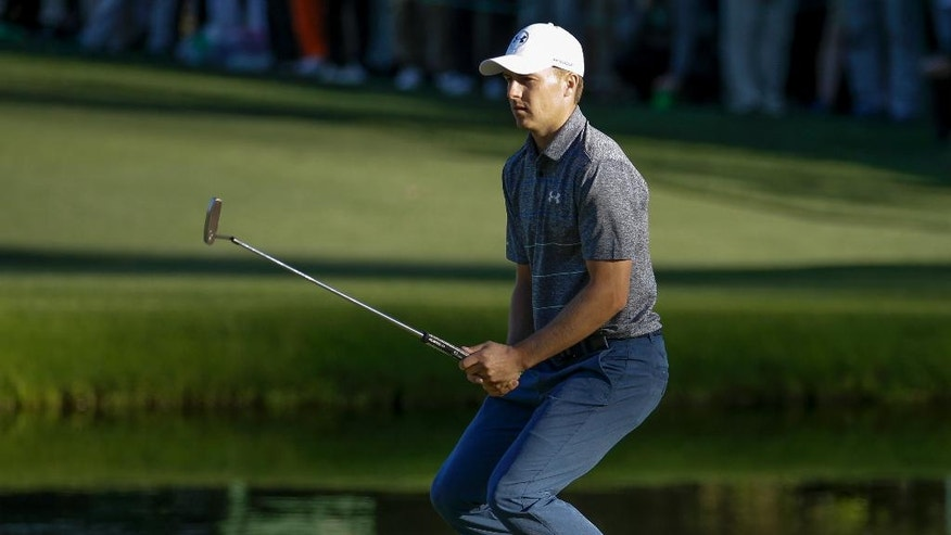 Jordan Spieth reacts to a missed putt on the 15th hole during the second round of the Masters golf tournament Friday, April 7, 2017, in Augusta, Ga. (AP Photo/Charlie Riedel)