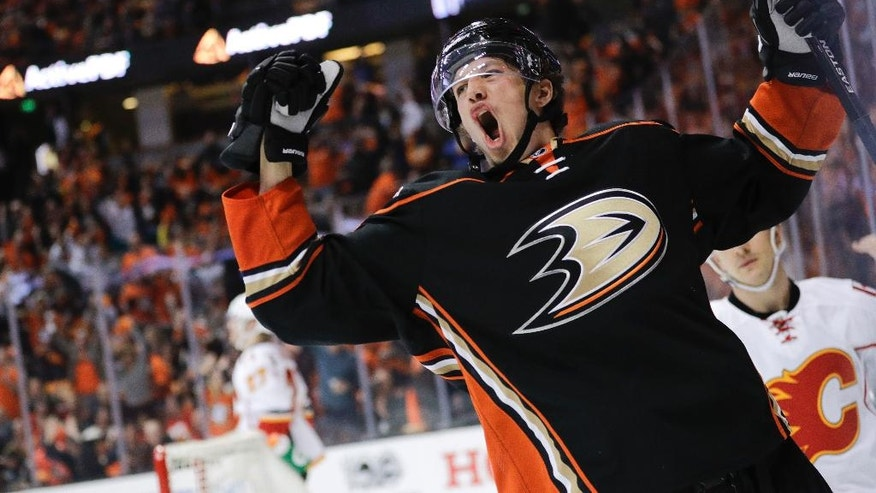 Anaheim Ducks' Rickard Rakell, of Sweden, celebrates his goal against the Calgary Flames during the second period in Game 1 of a first-round NHL hockey Stanley Cup playoff series Thursday, April 13, 2017, in Anaheim, Calif. (AP Photo/Jae C. Hong)