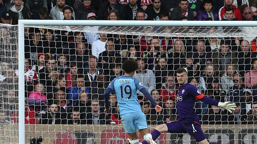 Manchester City's Leroy Sane scores against Southampton during the English Premier League soccer match at St Mary's Stadium, Southampton, England, Saturday April 15, 2017. (Steven Paston/PA via AP)