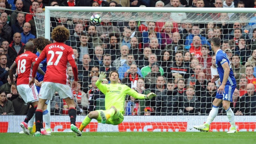 Manchester United's Ander Herrera, not in picture, scores his side's second goal during the English Premier League soccer match between Manchester United and Chelsea at Old Trafford stadium in Manchester, Sunday, April 16, 2017.(AP Photo/ Rui Vieira)