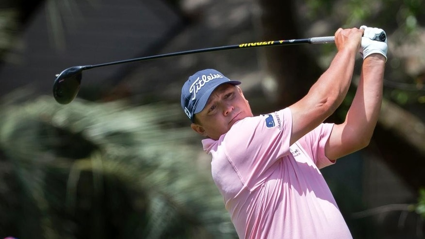 Jason Dufner watches his shot off the second tee during the final round of the RBC Heritage golf tournament in Hilton Head Island, S.C., Sunday, April 16, 2017. (AP Photo/Stephen B. Morton)