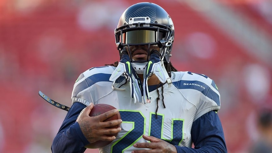 SANTA CLARA, CA - OCTOBER 22: Marshawn Lynch #24 of the Seattle Seahawks warms up during pregame warm ups prior to playing the San Francisco 49ers in an NFL football game at Levi's Stadium on October 22, 2015 in Santa Clara, California. (Photo by Thearon W. Henderson/Getty Images)