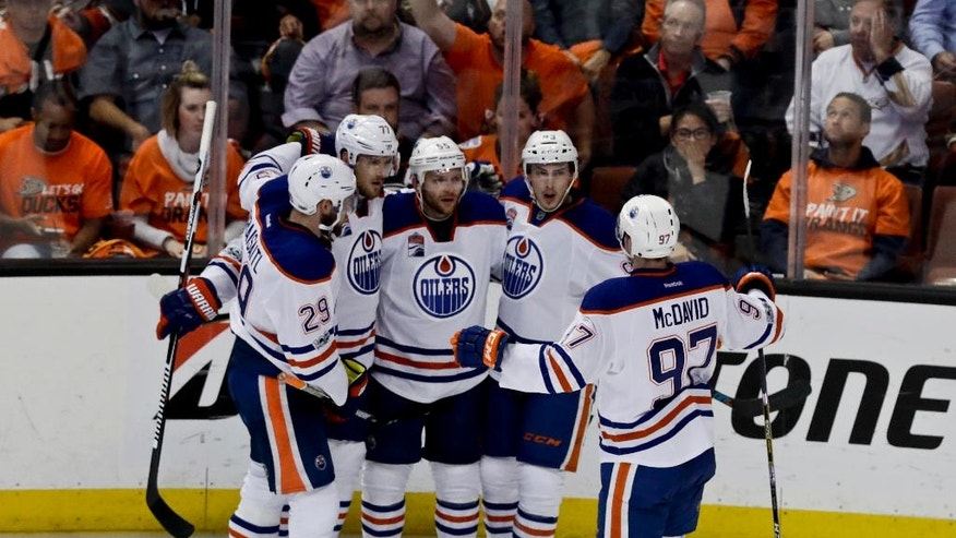 Edmonton Oilers celebrates after center Mark Letestu's goal against the Anaheim Ducks during the second period in Game 1 of a second-round NHL hockey Stanley Cup playoff series in Anaheim, Calif., Wednesday, April 26, 2017. (AP Photo/Chris Carlson)