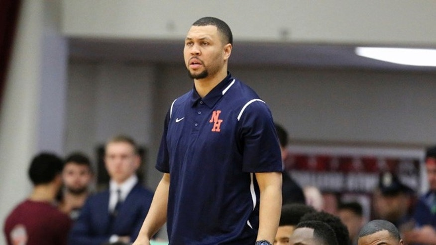 FILE - In this Jan. 16, 2017, file photo, Nathan Hale's head coach Brandon Roy is seen on the sidelines against Oak Hill Academy during a high school basketball game at the 2017 Hoophall Classic, in Springfield, Mass.