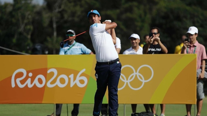 FILE - A Saturday, Aug. 13, 2016 file photo of Matteo Manassero of Italy, hitting from the third tee, during the third round of the men's golf event at the 2016 Summer Olympics in Rio de Janeiro, Brazil. Golf gets another makeover this weekend when the European Tour rolls out its latest attempt at innovation, the inaugural GolfSixes tournament. Played over two days, GolfSixes is a six-hole match play event featuring two-man teams from 16 different countries competing for a prize fund of 1 million euros ($1.1 million). (AP Photo/Alastair Grant, File)