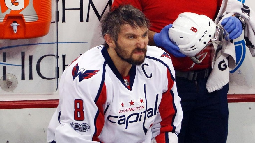 Washington Capitals' Alex Ovechkin sits on the bench during the first period in Game 4 against the Pittsburgh Penguins in an NHL hockey Stanley Cup Eastern Conference semifinal in Pittsburgh, Wednesday, May 3, 2017. The Penguins won 3-2. (AP Photo/Gene J. Puskar)