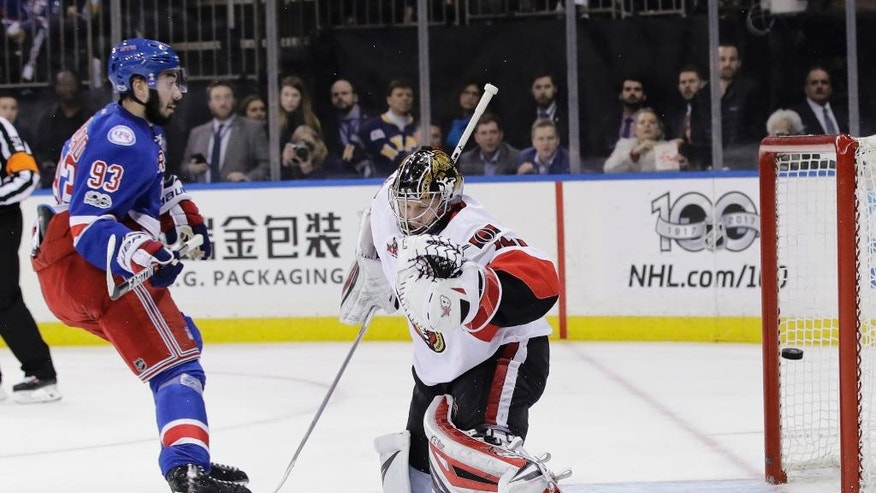 New York Rangers' Mika Zibanejad (93) shoots the puck past Ottawa Senators' Craig Anderson (41) for a goal during the second period of Game 6 of an NHL hockey Stanley Cup second-round playoff series, Tuesday, May 9, 2017, in New York. (AP Photo/Frank Franklin II)