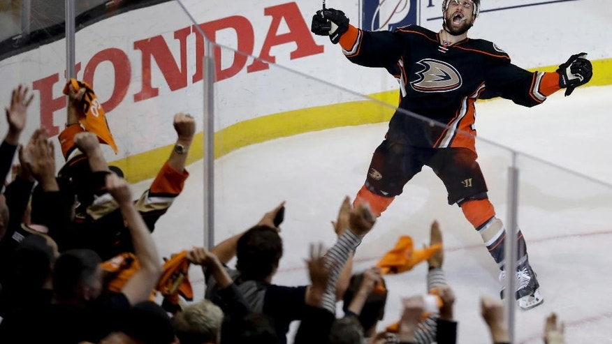 Anaheim Ducks center Andrew Cogliano celebrates after scoring during the second period in Game 7 of a second-round NHL hockey Stanley Cup playoff series against the Edmonton Oilers in Anaheim, Calif., Wednesday, May 10, 2017. (AP Photo/Chris Carlson)