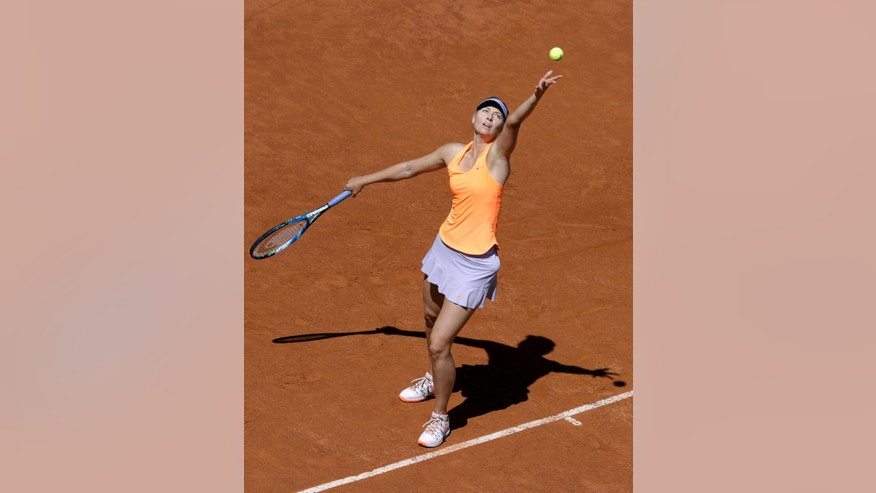 Maria Sharapova of Russia serves the ball to Christina Mchale of the United States during the Italian Open tennis tournament, in Rome, Monday, May 15, 2017. (AP Photo/Andrew Medichini)
