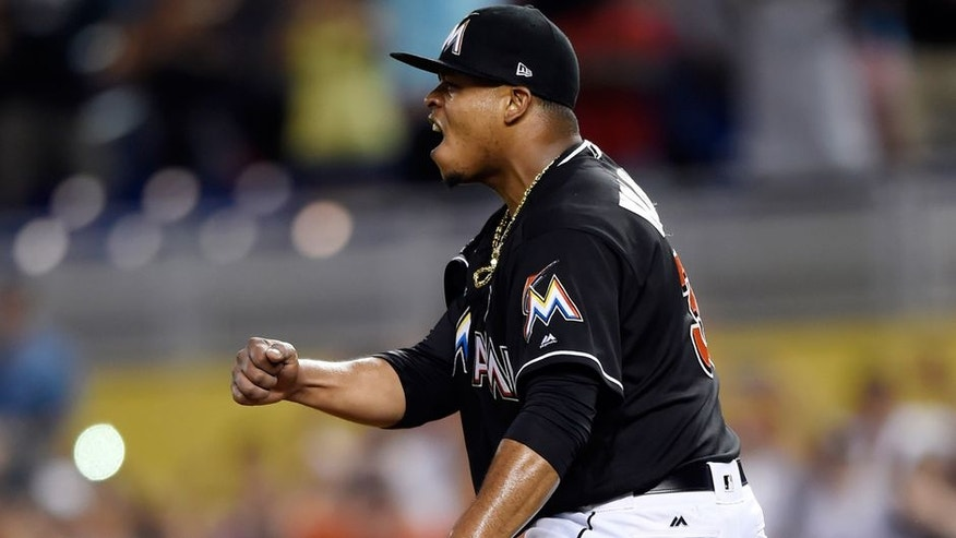 Jun 3, 2017; Miami, FL, USA; Miami Marlins starting pitcher Edinson Volquez (36) celebrates after throwing a no-hitter against the Arizona Diamondbacks at Marlins Park. Mandatory Credit: Steve Mitchell-USA TODAY Sports