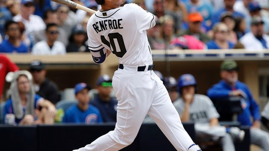 San Diego Padres' Hunter Renfroe hits a grand slam against the Chicago Cubs during the fourth inning of a baseball game in San Diego, Monday, May 29, 2017. (AP Photo/Alex Gallardo)