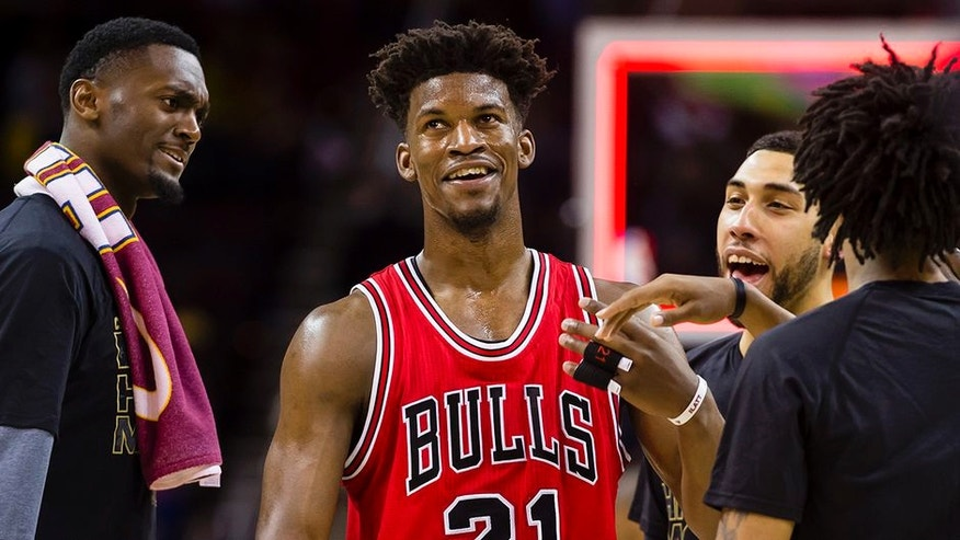 CLEVELAND, OH - FEBRUARY 25: Jimmy Butler #21 of the Chicago Bulls celebrates with teammates after the Bulls defeated the Cleveland Cavaliers at Quicken Loans Arena on February 25, 2017 in Cleveland, Ohio. The Bulls defeated the Cavaliers 117-99. NOTE TO USER: User expressly acknowledges and agrees that, by downloading and/or using this photograph, user is consenting to the terms and conditions of the Getty Images License Agreement. (Photo by Jason Miller/Getty Images)