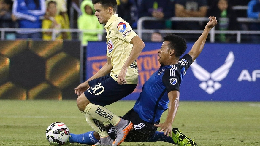 In this July 14, 2015, file photo, Jose Earthquakes midfielder Matheus Silva, right, challenges Club America forward Alejandro Diaz (30) for the ball during the second half of an International Champions Cup soccer match in San Jose, Calif.