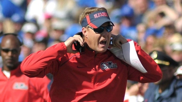 Oct 17, 2015; Memphis, TN, USA; Mississippi Rebels head coach Hugh Freeze during the game against the Memphis Tigers at Liberty Bowl Memorial Stadium. Memphis Tigers beat Mississippi Rebels 37-24. Mandatory Credit: Justin Ford-USA TODAY Sports