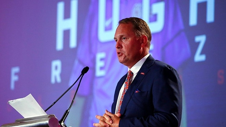 Mississippi NCAA college football coach Hugh Freeze speaks during the Southeastern Conference's annual media gathering, Thursday, July 13, 2017, in Hoover, Ala. (AP Photo/Butch Dill)