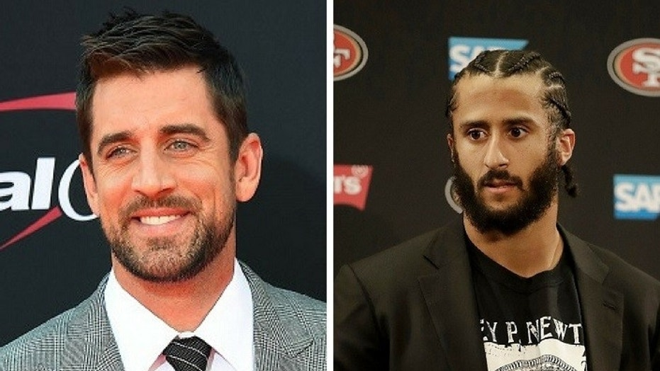 "Aaron Rodgers said Colin Kaepernick ""should be on a roster"" but is not ""because of his protests."""