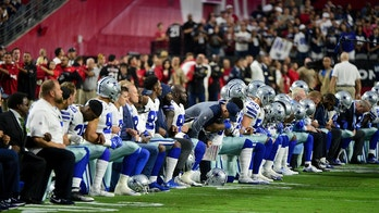 Sep 25, 2017; Glendale, AZ, USA; The Dallas Cowboys players, coaches and staff take a knee prior to the National Anthem before the game against the Arizona Cardinals at University of Phoenix Stadium. Mandatory Credit: Matt Kartozian-USA TODAY Sports - 10308182