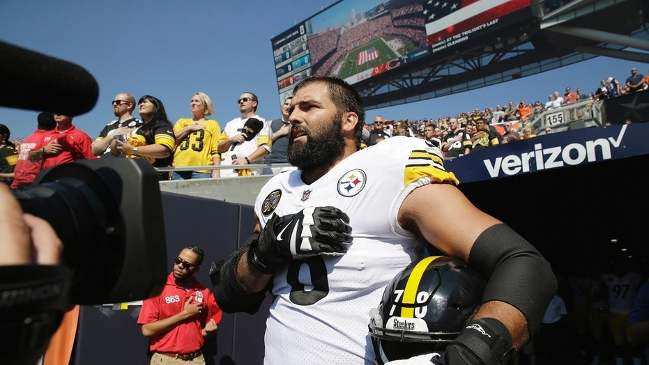 Pittsburgh Steelers offensive tackle and former Army Ranger Alejandro Villanueva standing for the anthem Sunday.