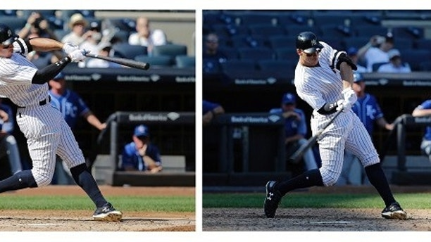 This combo photo shows the Yankees Aaron Judge hitting home runs, 49, left, and 50, right, during a major league baseball game against the Kansas City Royals Monday, Sept. 25, 2017, in New York. Aaron Judge broke Mark McGwire's major league record for home runs by a rookie, going deep twice on Monday to raise his total to 50. (AP Photos/Seth Wenig)