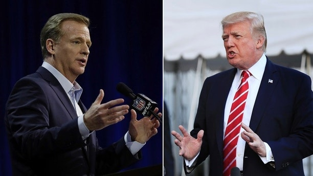 "FILE - At left, in a Feb. 1, 2017, file photo, NFL Commissioner Roger Goodell answers questions during a news conference for the Super Bowl 51 football game, in Houston. At right, in an Oct. 7, 2017, file photo, President Donald Trump speaks to reporters at the White House in Washington. NFL owners will meet next week to consider changes to a game manual that says players ""should"" stand during the national anthem, a guideline that the league has left to the discretion of players who kneeled in larger numbers after criticism from President Donald Trump. Commissioner Roger Goodell told club executives Tuesday, Oct. 10, 2017, in a memo obtained by The Associated Press that the anthem issue is dividing the league from its fans. He said the NFL needs ""to move past this controversy."" (AP Photo/File)"