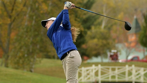UXBRIDGE  - Lunenburg's Emily Nash tees off. Division 3 Golf Tournament at Blissful Meadows.    Tuesday, October 24, 2017. [T&G Staff/Christine Peterson]