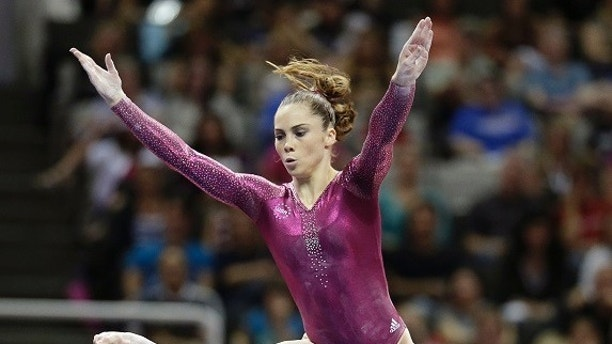 FILE - In this July 1, 2012, file photo, McKayla Maroney performs in the floor exercise event during the final round of the women's Olympic gymnastics trials in San Jose, Calif. Two-time Olympic medalist McKayla Maroney says she was molested for years by a former USA Gymnastics team doctor, abuse she said started in her early teens and continued for the rest of her competitive career. Maroney posted a lengthy statement on Twitter early Wednesday, Oct. 18, 2017,  that described the allegations of abuse against Dr. Larry Nassar, who spent three decades working with athletes at USA Gymnastics but now is in jail in Michigan awaiting sentencing after pleading guilty to possession of child pornography. (AP Photo/Jae C. Hong, File)