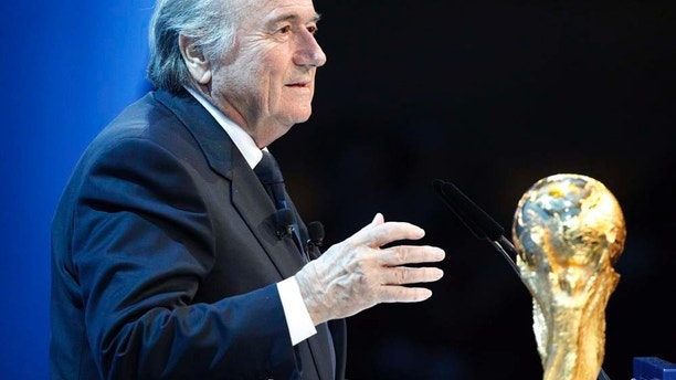 Fifa President Josef (Sepp) Blatter speaks to the audience during the FIFA 2018 and 2022 World Cup Bid Announcement in Zurich, Switzerland, Thursday, December 2, 2010. (KEYSTONE/Patrick B. Kraemer)