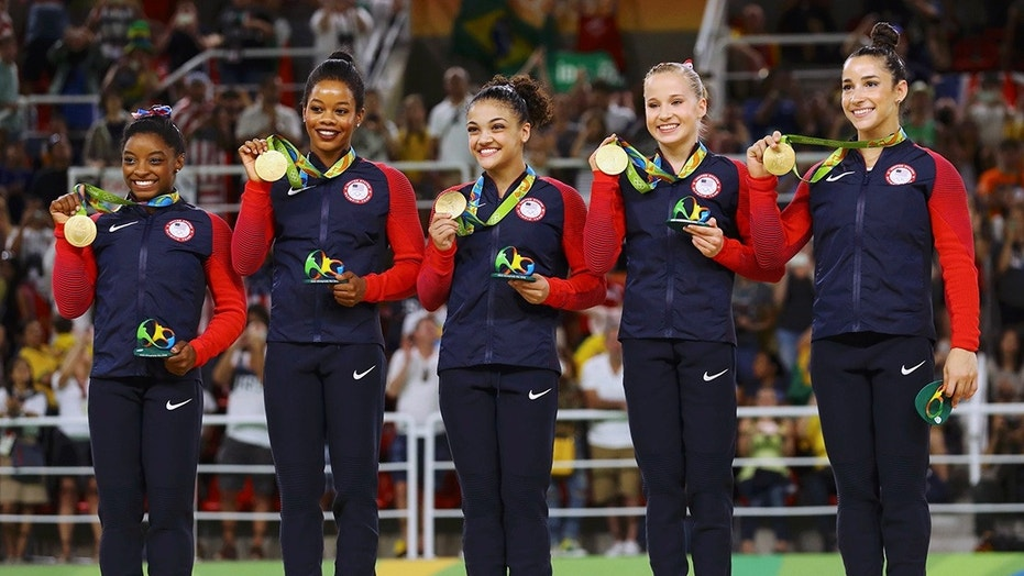 Gabby Douglas, second from left, and Aly Raisman, far right, led the U.S. women's gymnastics team to gold at the 2016 Summer Olympics in Rio de Janeiro.