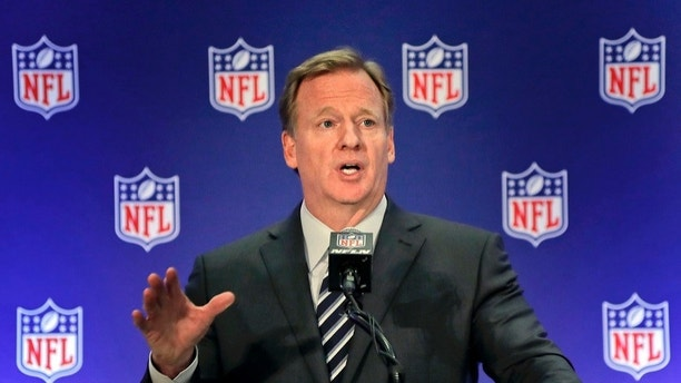 "FILE - In this Oct. 18, 2017, file photo, NFL commissioner Roger Goodell speaks during a news conference, in New York. The NFL expects a five-year contract extension with Commissioner Roger Goodell to be finalized soon, despite a threatened lawsuit by Dallas Cowboys owner Jerry Jones. NFL spokesman Joe Lockhart said Thursday, Nov. 9, 2017, that ""our expectation is this will be wrapped up soon, but we can't project an actual date.""(AP Photo/Julie Jacobson, File)"