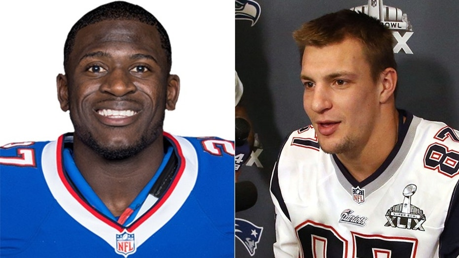 New England Patriots tight end Rob Gronkowski, right, was accused of making a dirty hit into the back of the head of Buffalo Bills cornerback Tre'Davious White.