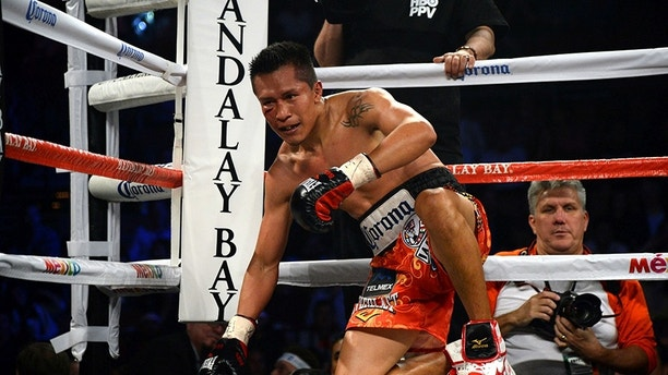 Nov 21, 2015; Las Vegas, NV, USA; Takashi Miura (not pictured) knocks down Francisco Vargas (red trunks) box during their WBC super featherweight title boxing match at Mandalay Bay Events Center. Vargas won via ninth round TKO. Mandatory Credit: Joe Camporeale-USA TODAY Sports - 8943380