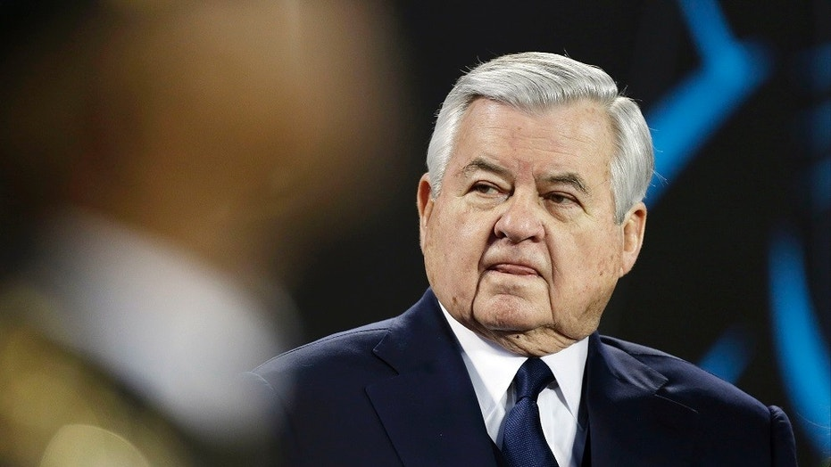 Carolina Panthers announce owner Jerry Richardson, dealing with a workplace misconduct investigation, will sell the team.  (AP Photo/Bob Leverone, File)
