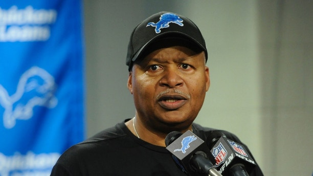 Detroit Lions head coach Jim Caldwell addresses the media after an NFL football game against the Green Bay Packers, Sunday, Dec. 31, 2017, in Detroit. (AP Photo/Jose Juarez)