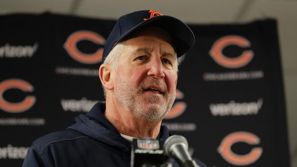 Chicago Bears head coach John Fox talks to the media after an NFL football game against the Cleveland Browns in Chicago, Sunday, Dec. 24, 2017. (AP Photo/Nam Y. Huh)