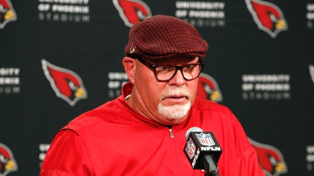 Arizona Cardinals head coach Bruce Arians speaks after an NFL football game against the New York Giants, Sunday, Dec. 24, 2017, in Glendale, Ariz. The Cardinals won 23-0. (AP Photo/Rick Scuteri)